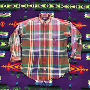 Ralph Lauren Polo Plaid Long Sleeve Golf Shirt